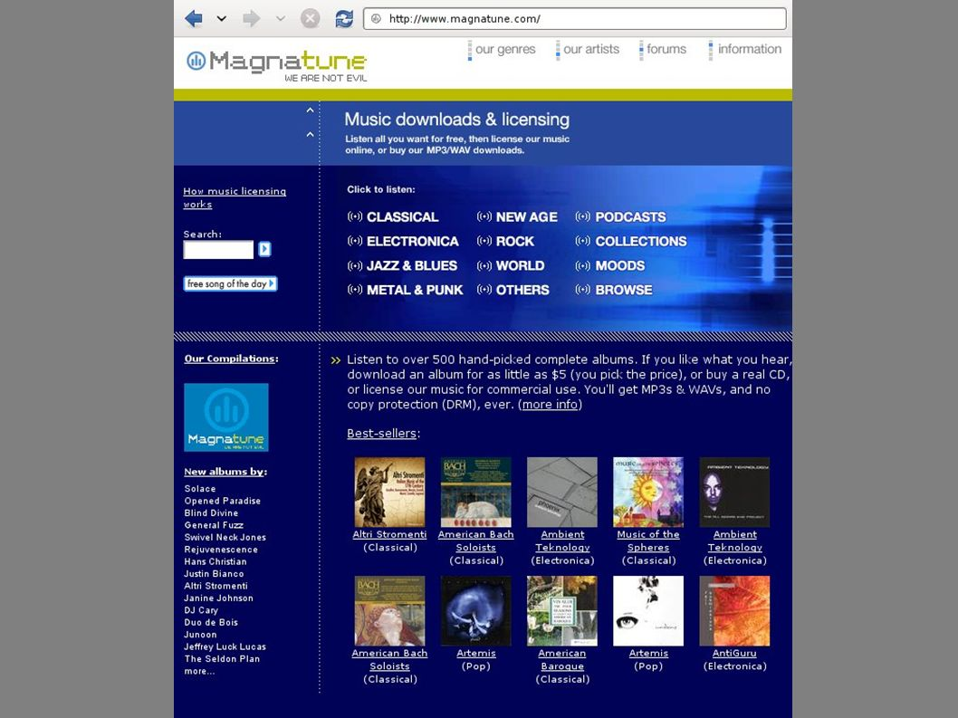 Magnatune record label founded in 2003.