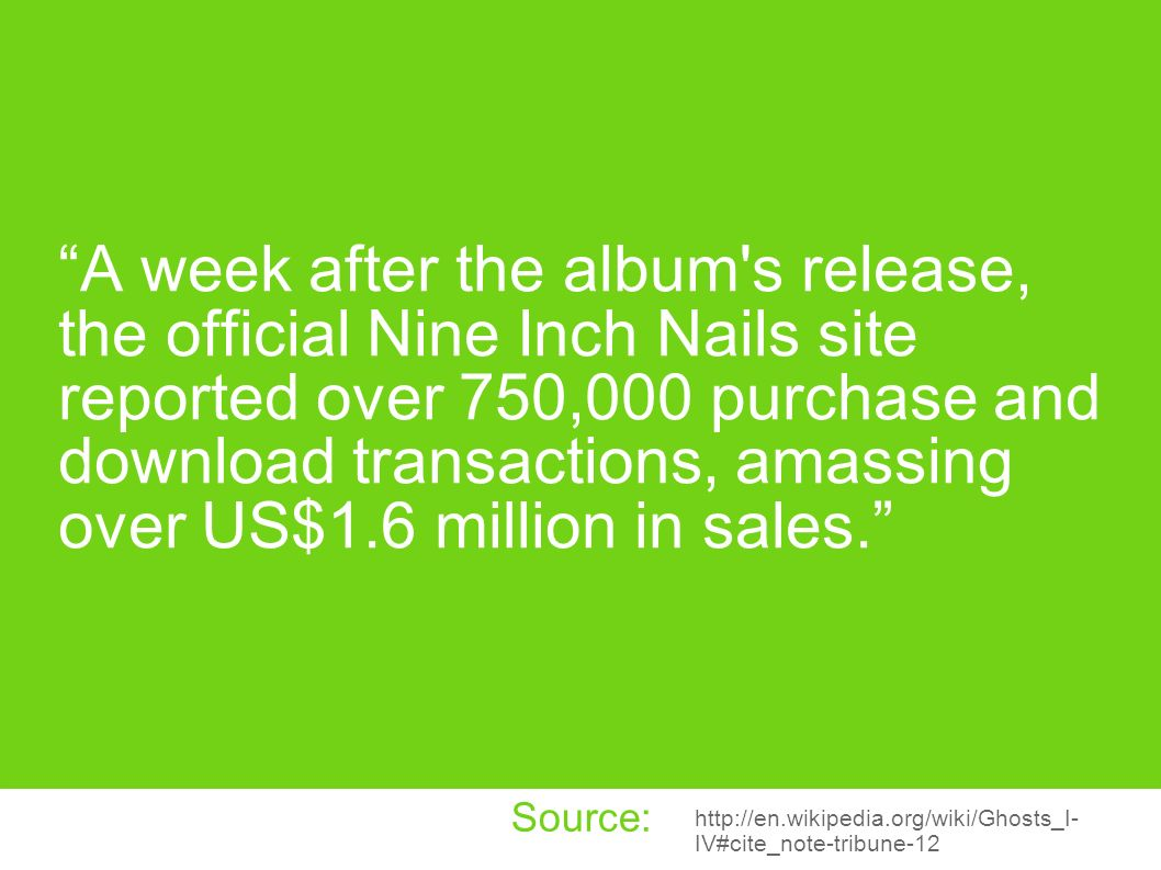 A week after the album s release, the official Nine Inch Nails site reported over 750,000 purchase and download transactions, amassing over US$1.6 million in sales.