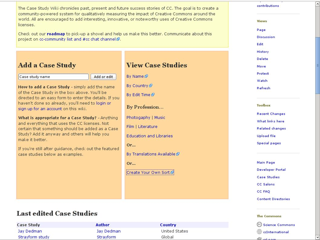 With over 120 case studies, the wiki is now officially the most comprehensive documentation of the experiences of different groups using the Creative Commons licences worldwide, from individual artists to large government corporations.