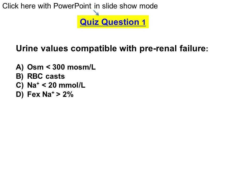 Urine values compatible with pre-renal failure: