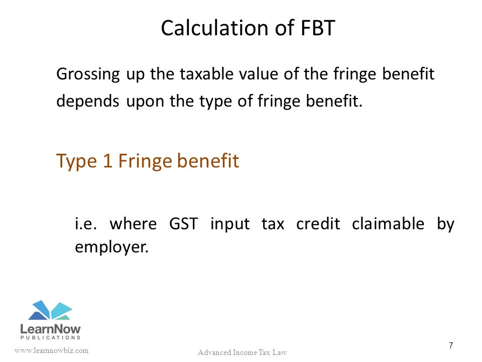 Fringe Benefit Tax (FBT) under Income Tax Act.