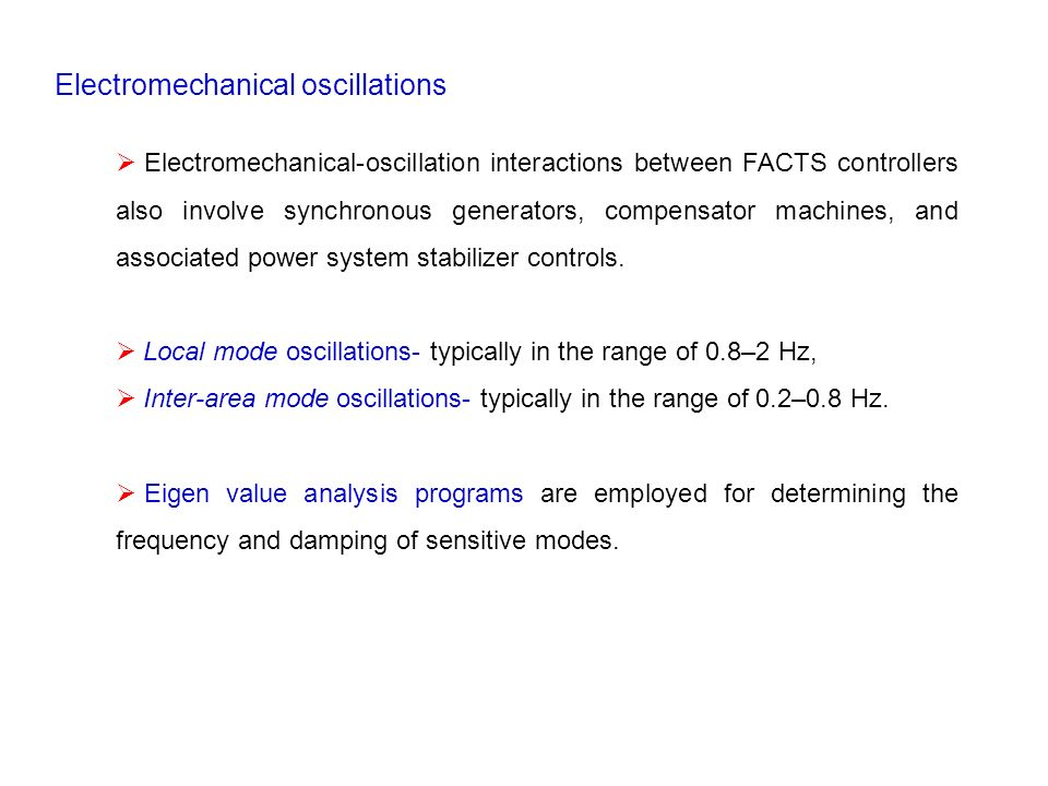 Electromechanical oscillations