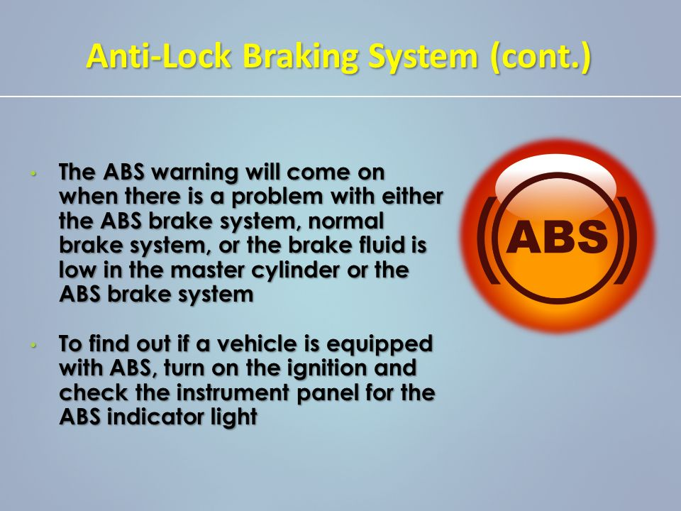study of abs ppt New cars are confusing with all the computers, sensors, and gadgets, it may seem like there's some sort of magical witchcraft taking place under the hood we're here to show you how modern automotive computer control systems work last week, we looked at efi today's topics: abs, tc, and esc back.