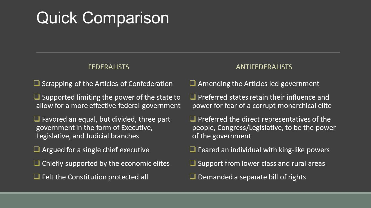 federalists vs antifederalists With the early american government unclear, federalists proposed a constitution that would disperse an overall power system this federal structure would separate power between national and state governments, decentralizing roles and responsibilities.