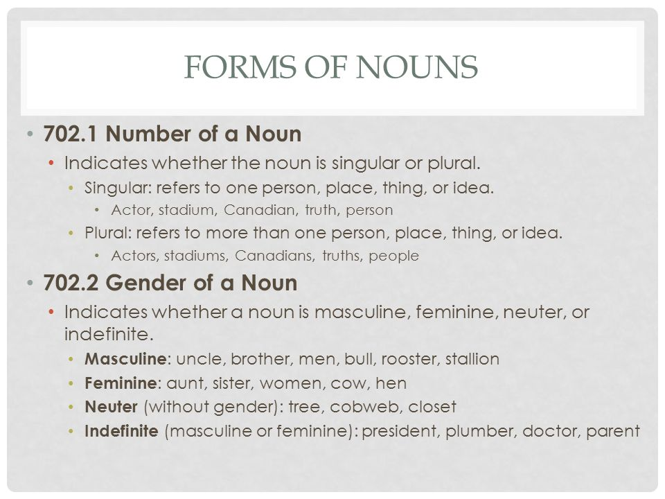 the number of the noun Gender of nouns: part ii notes: the written lesson is below links to quizzes, tests, etc are to the left masculine nouns that end in a consonant often have a.