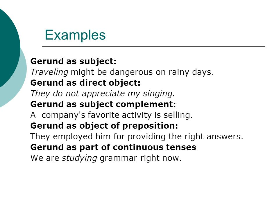 -ing Type just for Continual Tenses