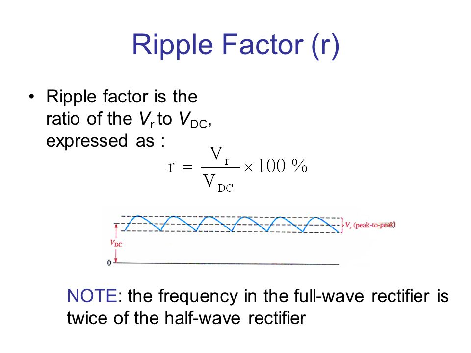 Ripple Factor (r) Ripple factor is the ratio of the Vr to VDC, expressed as : NOTE: the frequency in the full-wave rectifier is.