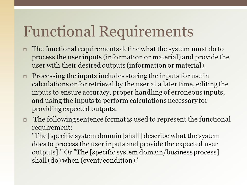 the functional requirement of cladding system essay Non-functional list any non-functional requirements that the use requirement non-functional keywords the system's value proposition is useful in.