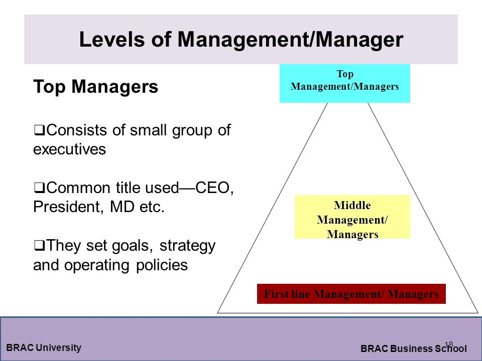 Levels of Management/Manager