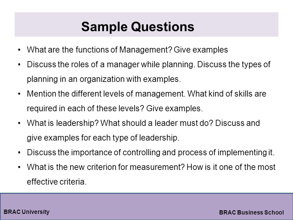 Sample Questions What are the functions of Management Give examples