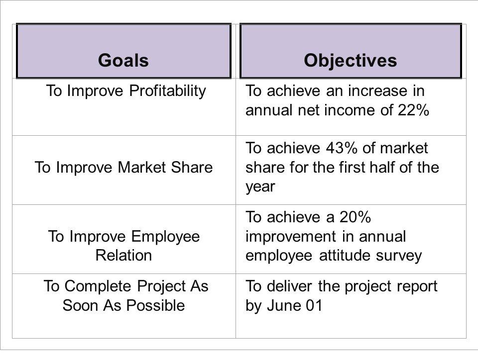 Goals Objectives To Improve Profitability