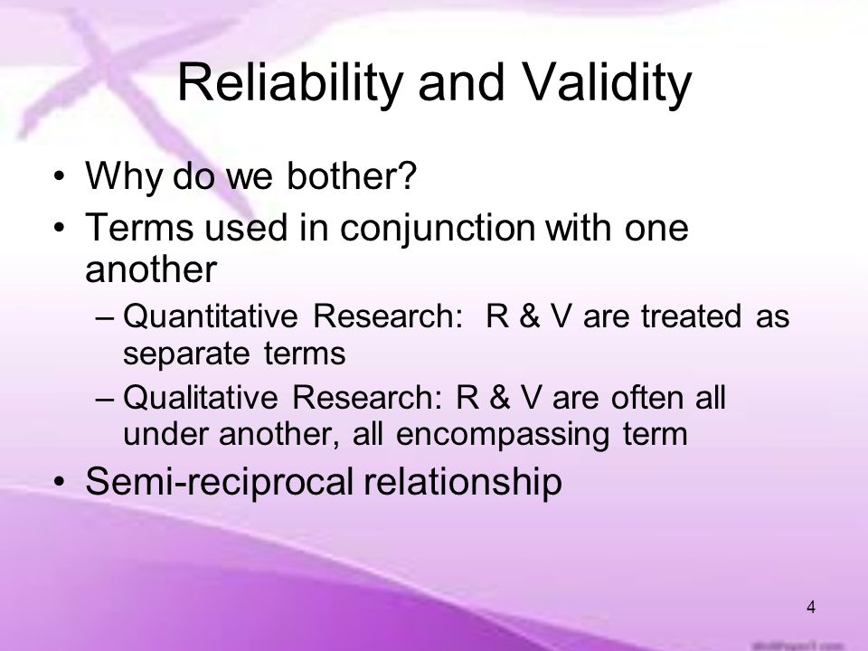 reliability and validity research This article addresses issues relating to rigour within qualitative research, beginning with the need for rigour at all in such studies the concept of reliability is.
