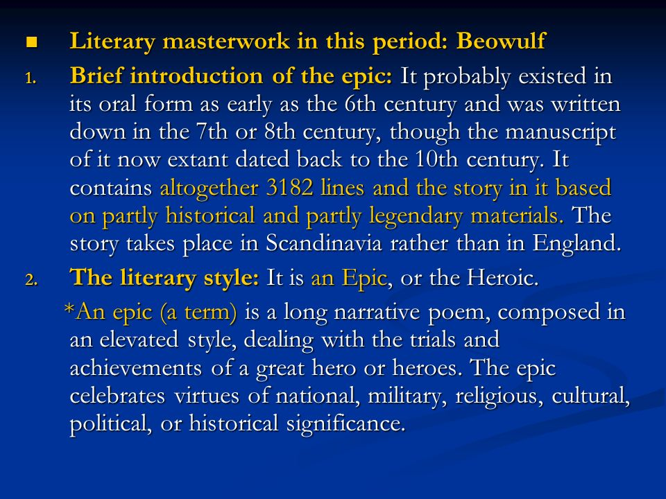 the religious stance in the epic of beowulf Sir gawain and the green knight (penguin classics)  and the poem's epic and pagan sources  they are highly religious and some would say dark.