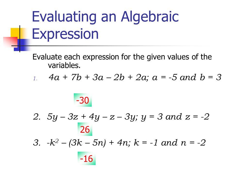 evaluating algebraic expressions worksheet pdf