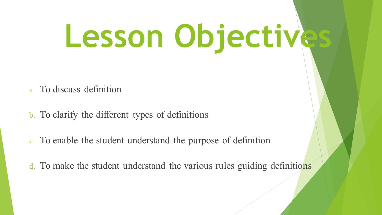 Lesson Objectives To Discuss Definition