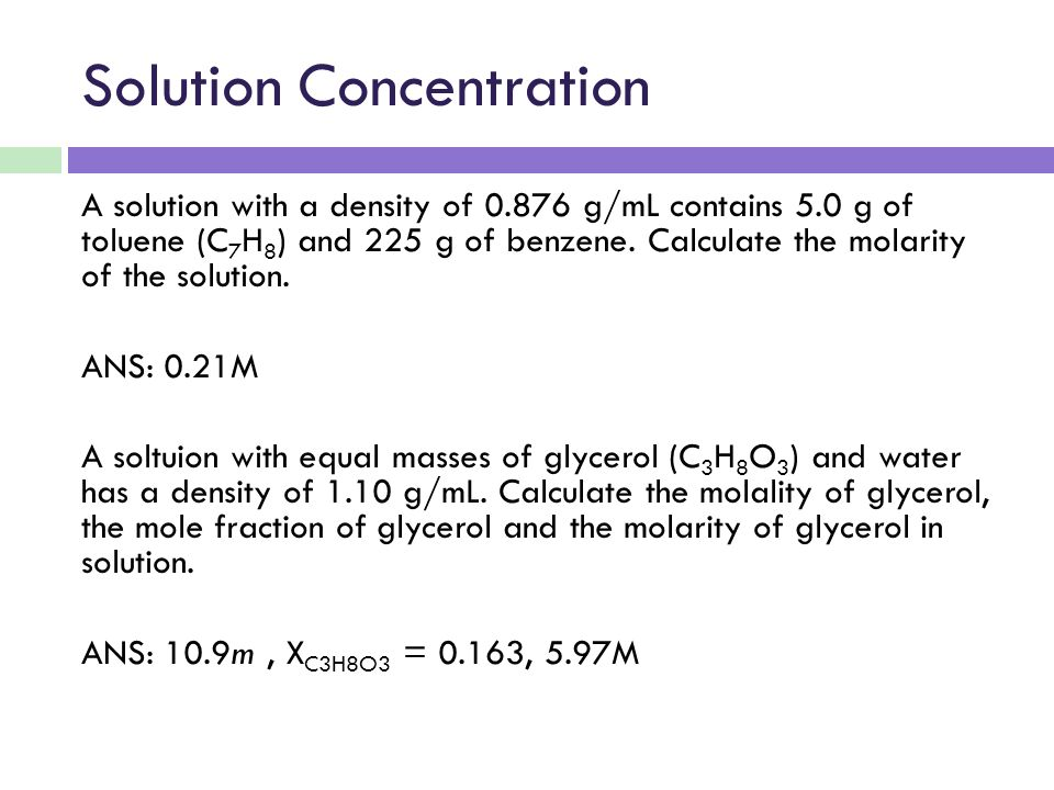 concentration solution density A calibration plot of sugar concentration vs solution density will be constructed in order to determine the approximate sugar content of coke by measuring a sample's mass and volume, the density can be determined.
