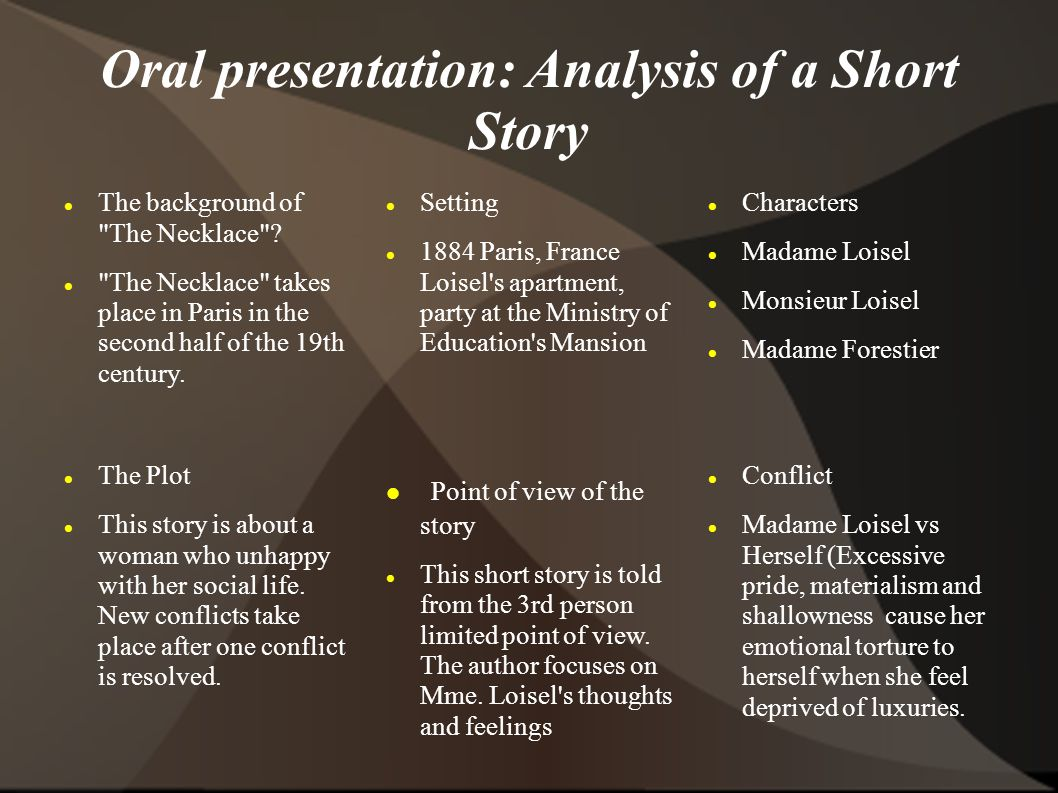 short story analysis Analyzing short stories/novels when analyzing fiction, you  plot  refers to what happens in the story - events and thoughts which make up the  story's.