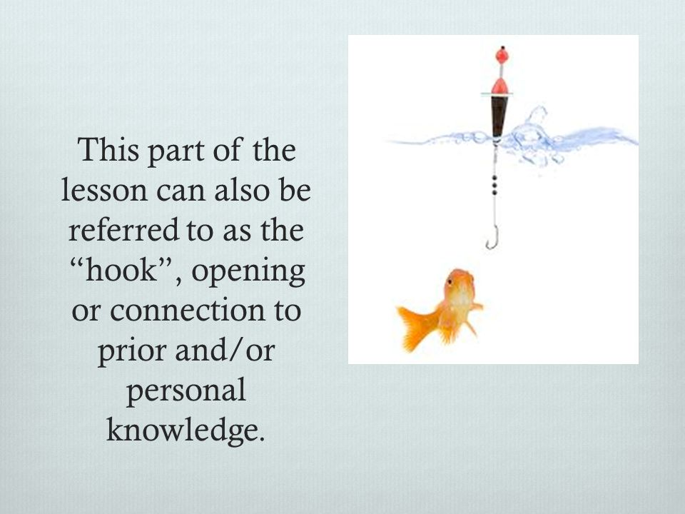 This part of the lesson can also be referred to as the hook , opening or connection to prior and/or personal knowledge.