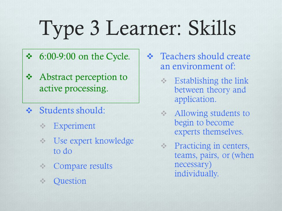 Type 3 Learner: Skills 6:00-9:00 on the Cycle.