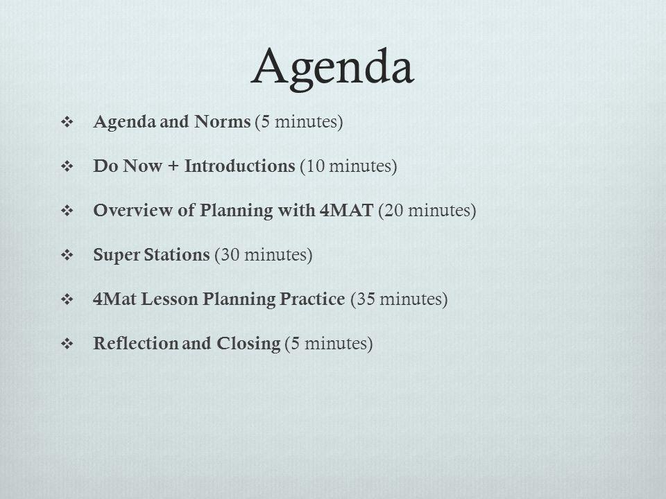 Agenda Agenda and Norms (5 minutes)