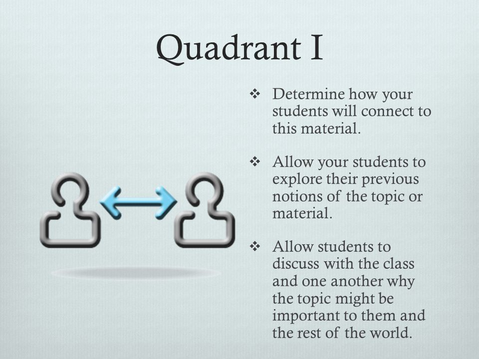 Quadrant I Determine how your students will connect to this material.