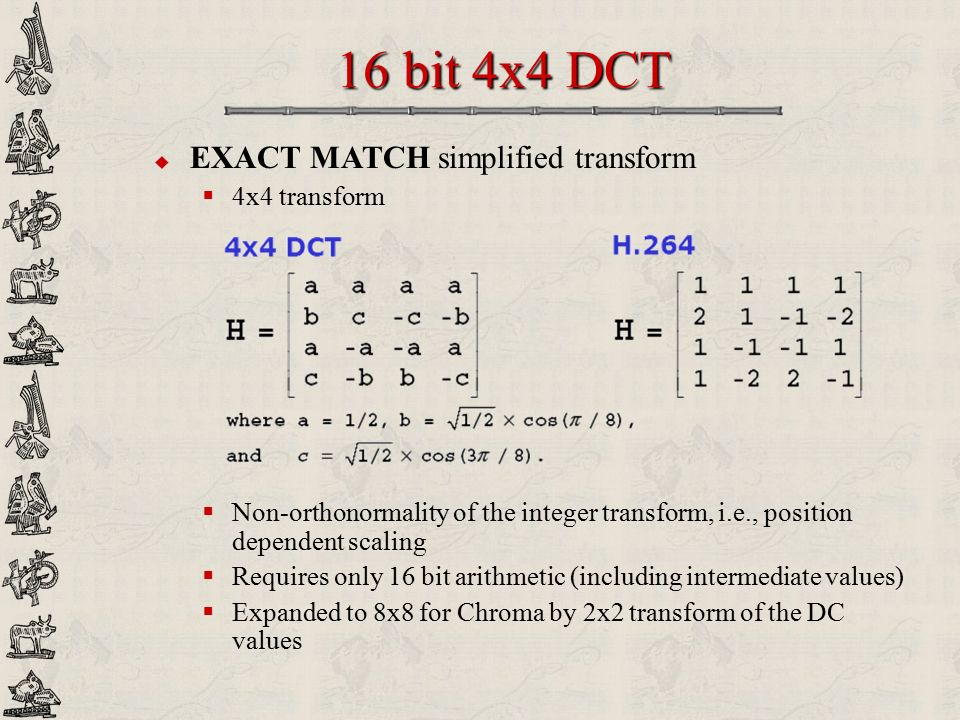 16 bit 4x4 DCT EXACT MATCH simplified transform 4x4 transform