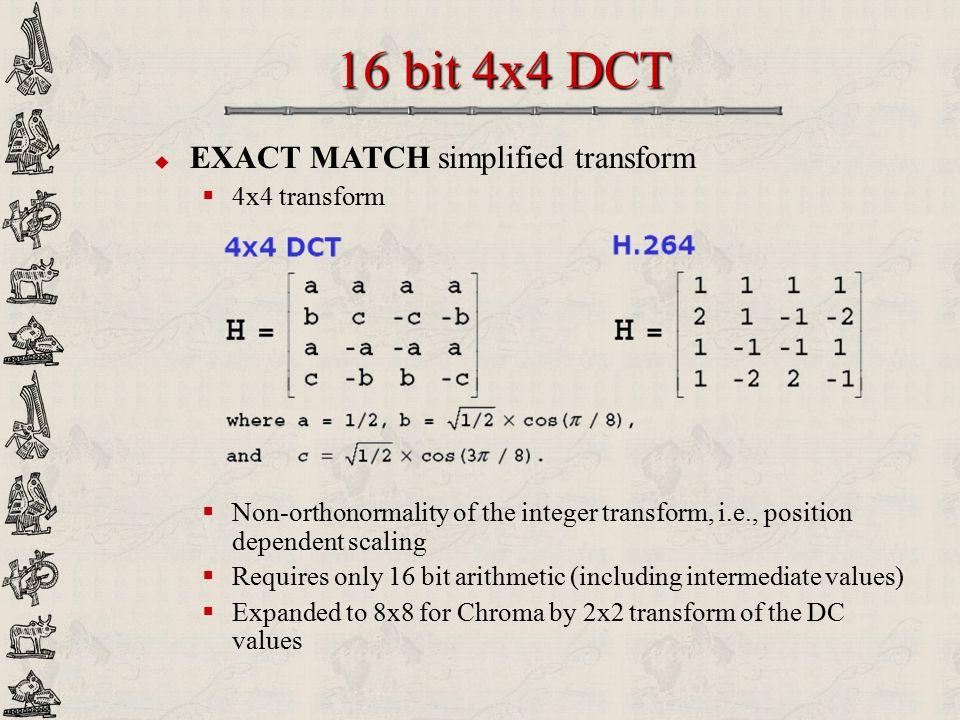 16 bit 4x4 DCT EXACT MATCH simplified transform 4x4 transform