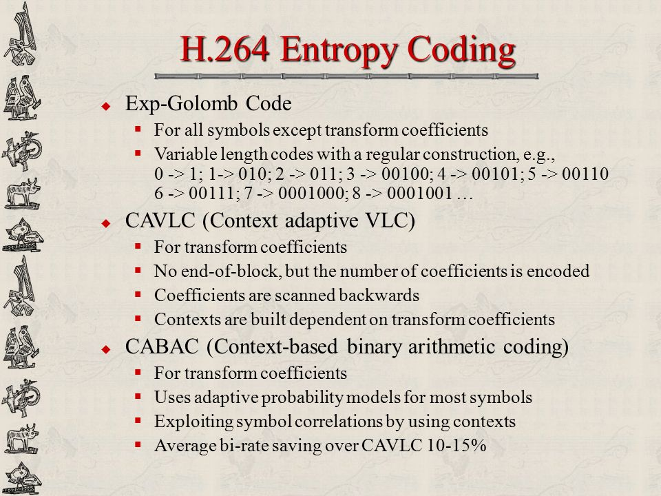 H.264 Entropy Coding Exp-Golomb Code CAVLC (Context adaptive VLC)
