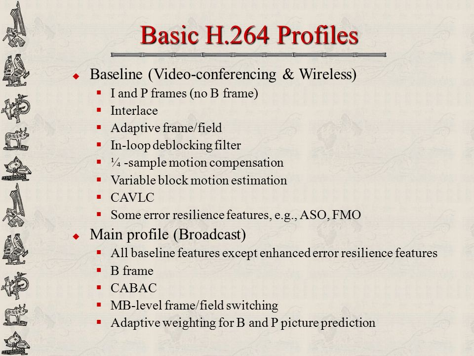 Basic H.264 Profiles Baseline (Video-conferencing & Wireless)