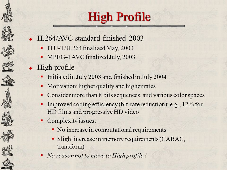 High Profile H.264/AVC standard finished 2003 High profile