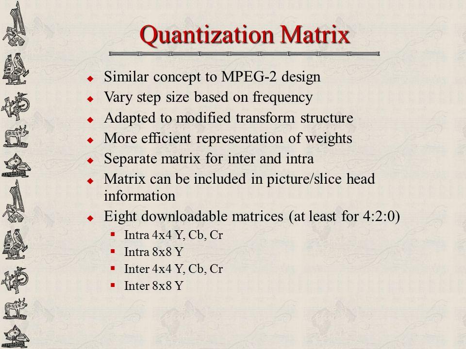 Quantization Matrix Similar concept to MPEG-2 design