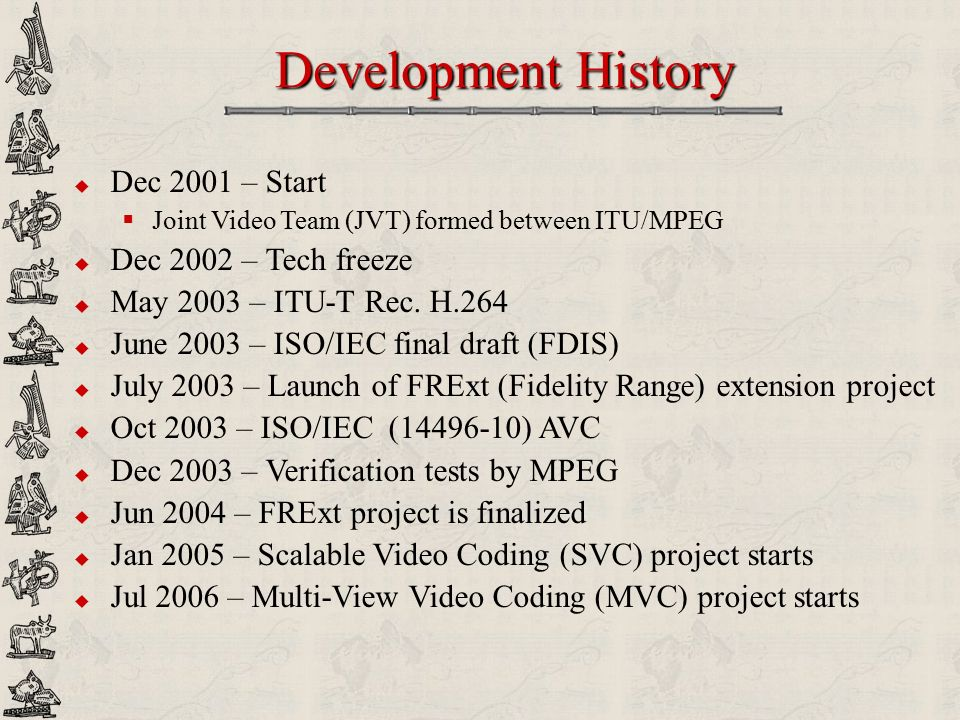Development History Dec 2001 – Start Dec 2002 – Tech freeze