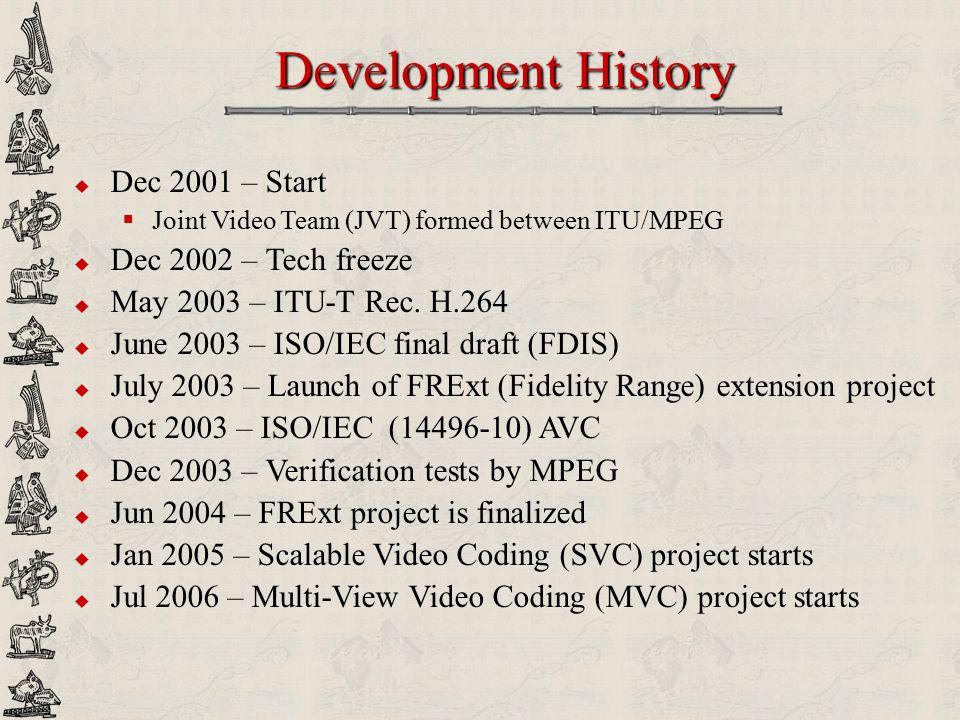 Development History Dec 2001 – Start Dec 2002 – Tech freeze