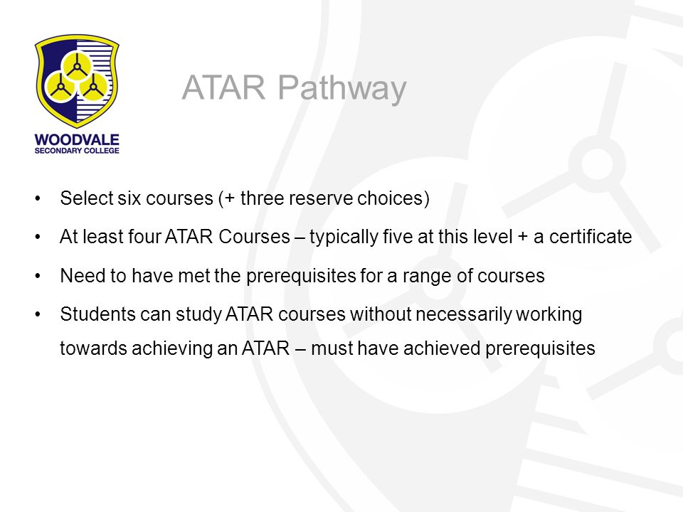 ATAR Pathway Select six courses (+ three reserve choices)