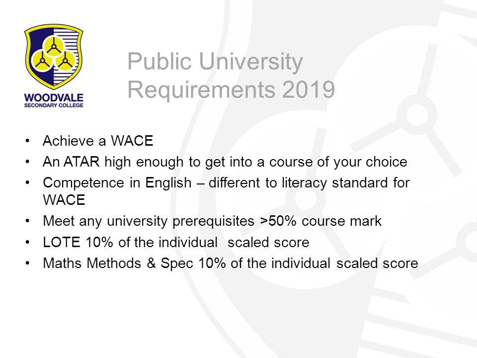 Public University Requirements 2019