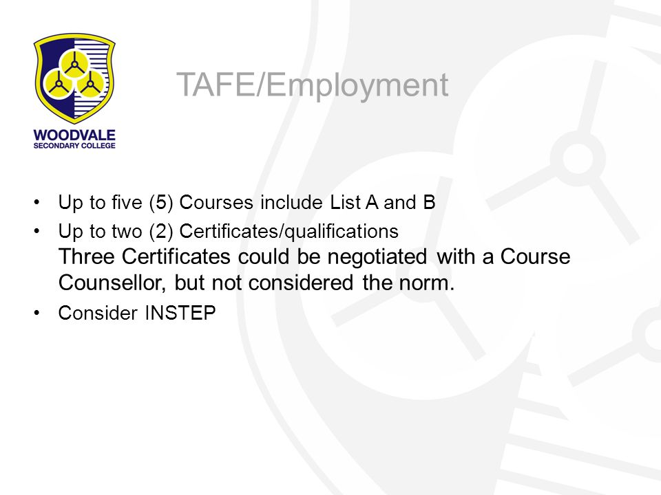 TAFE/Employment Up to five (5) Courses include List A and B