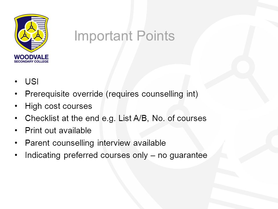 Important Points USI Prerequisite override (requires counselling int)