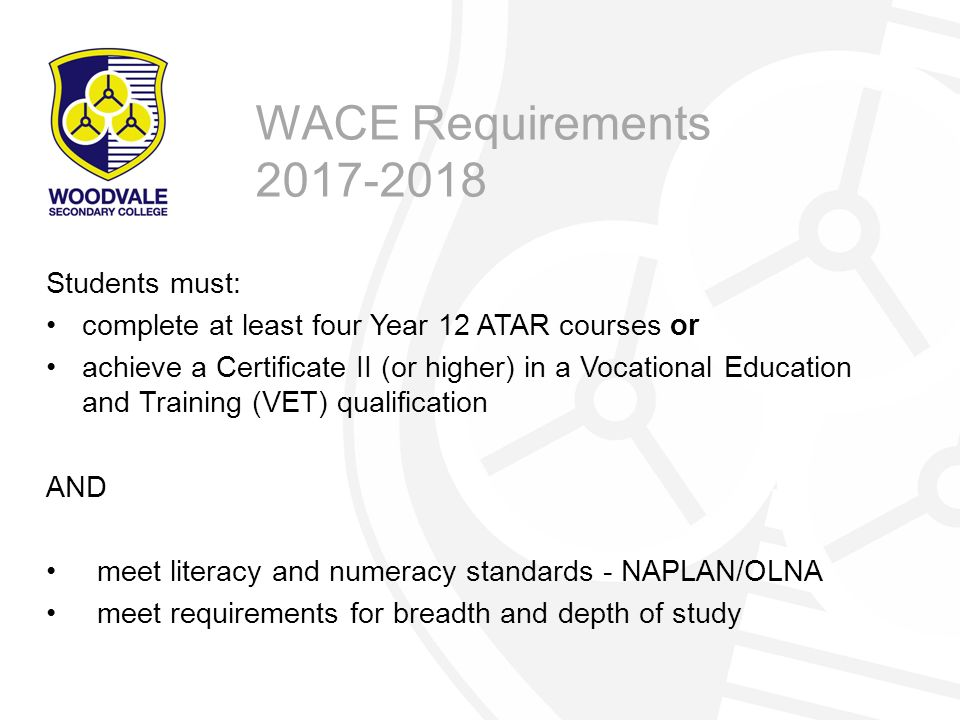WACE Requirements 2017-2018 Students must: