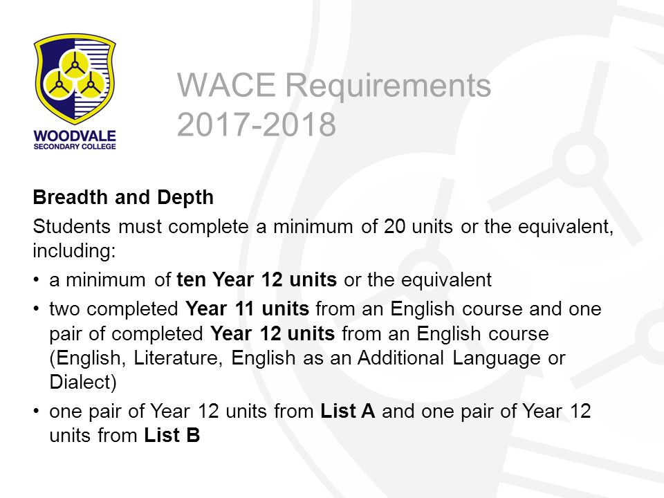 WACE Requirements 2017-2018 Breadth and Depth