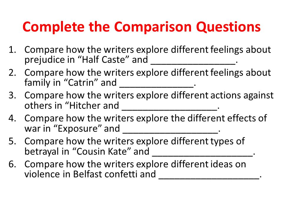 compare how the writers present the Section 1: why compare & contrast  the ability to present clear analyses of issues, ideas, texts, and experiences the ability to support positions with well.