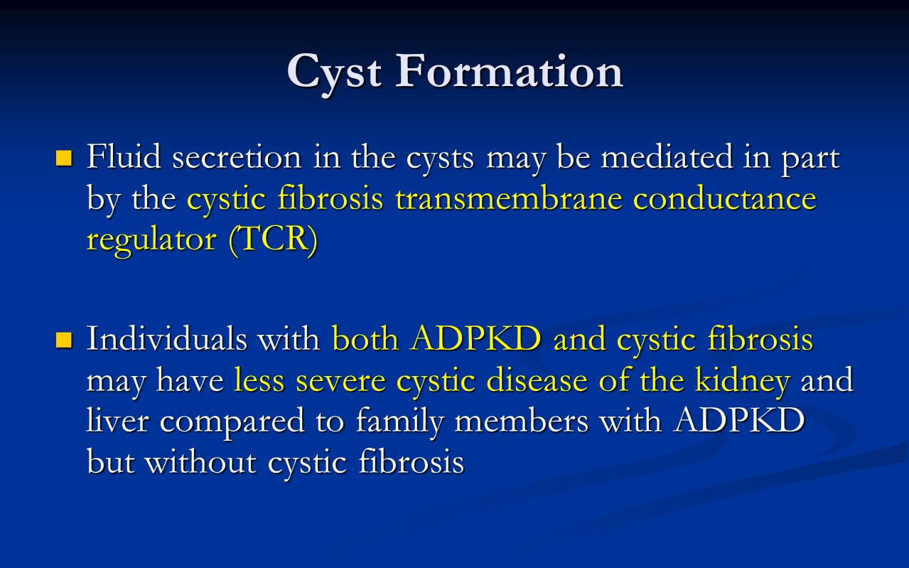 Cyst Formation Fluid secretion in the cysts may be mediated in part by the cystic fibrosis transmembrane conductance regulator (TCR)
