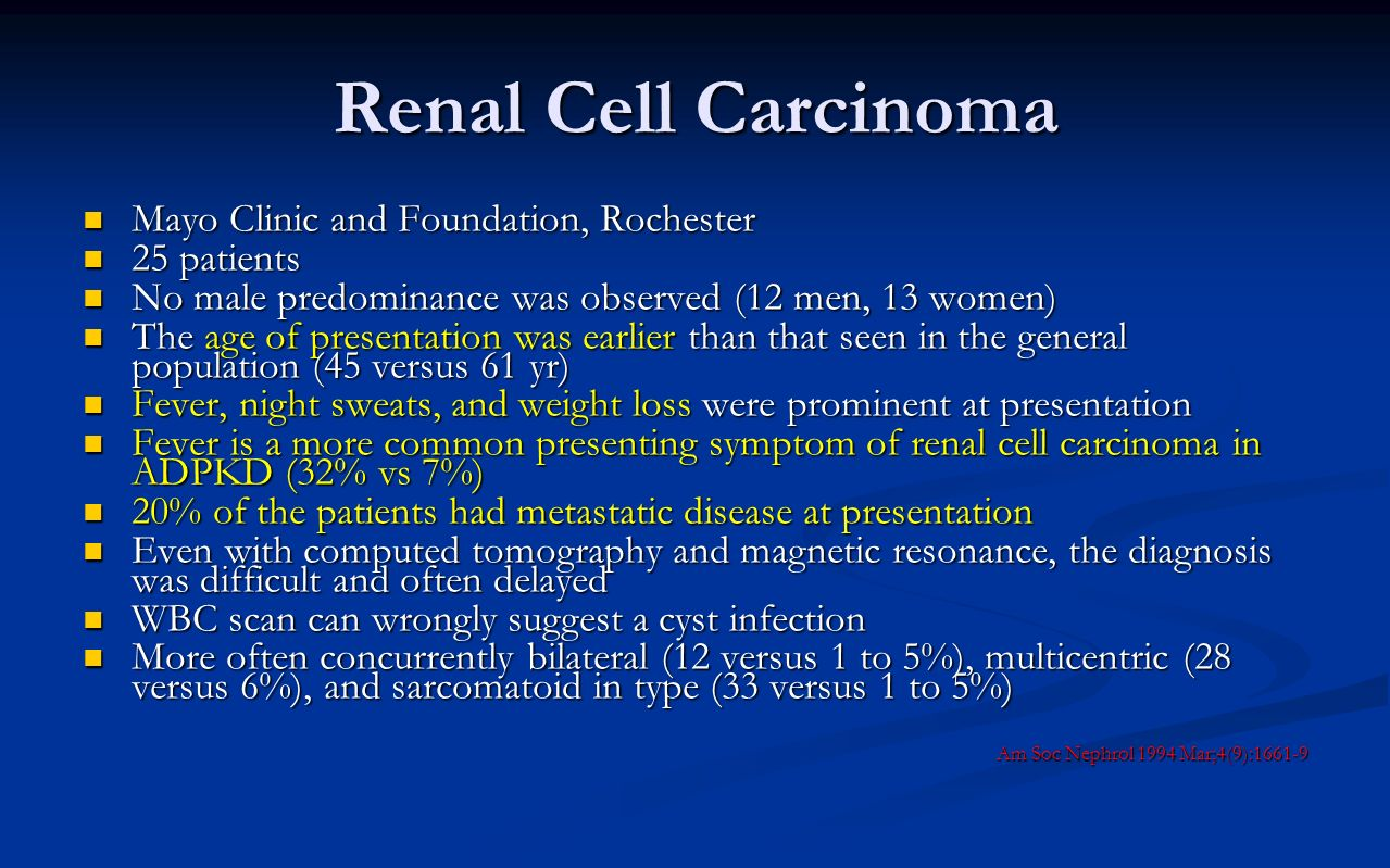 Renal Cell Carcinoma Mayo Clinic and Foundation, Rochester 25 patients