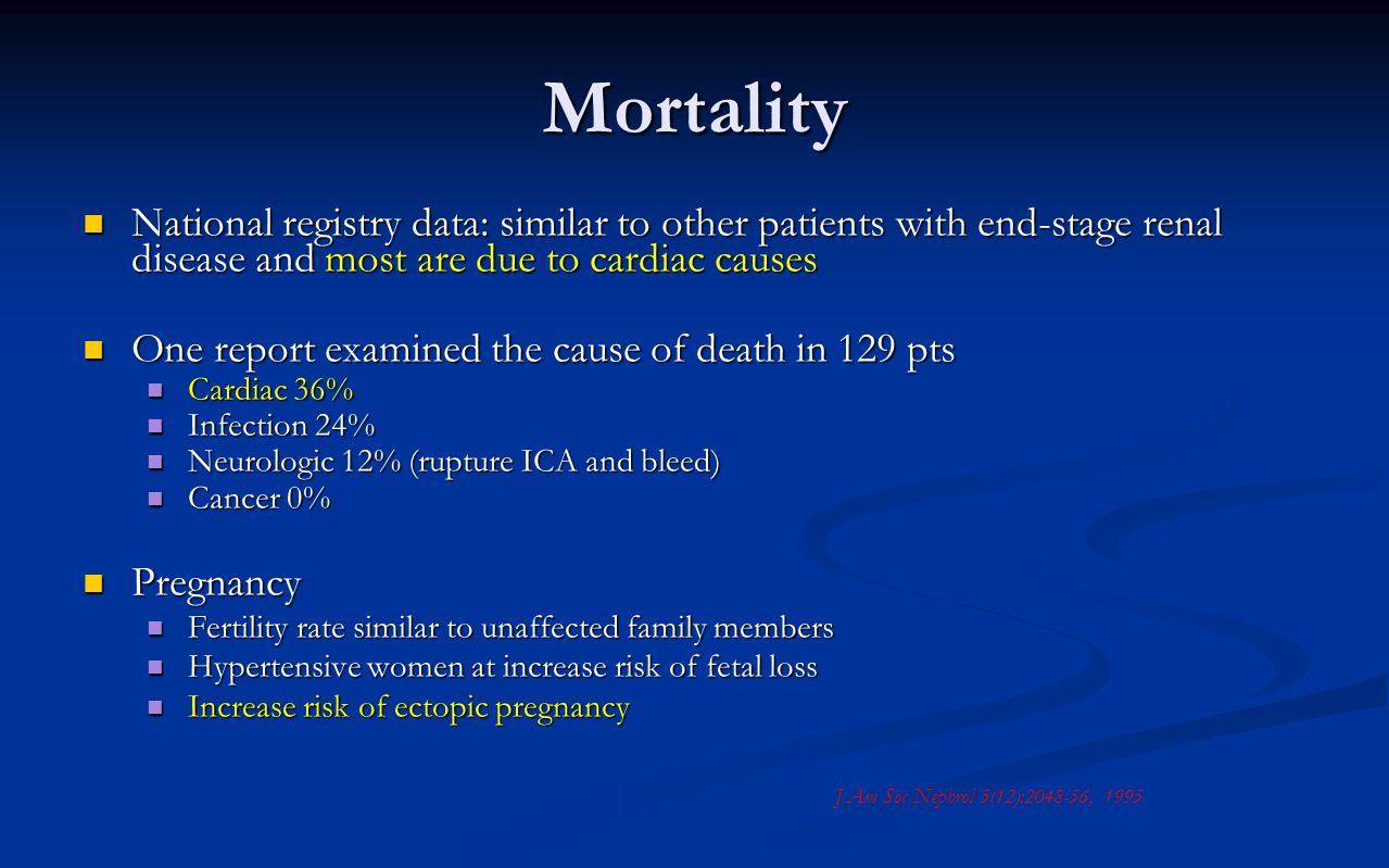 Mortality National registry data: similar to other patients with end-stage renal disease and most are due to cardiac causes.