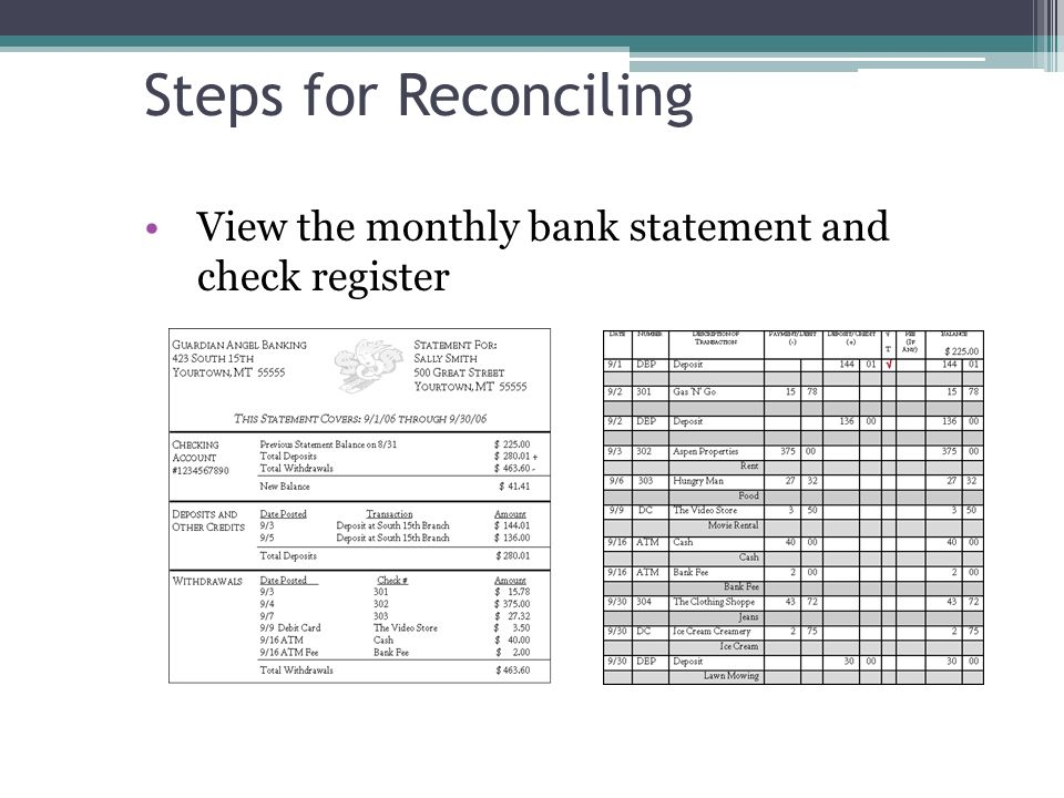 Bank reconciliation worksheet free
