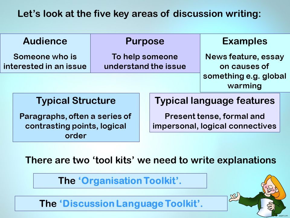 features of discussion essay An effectively styled essay results, discussion) the writing program committee suggests that it be the goal of writing instruction at calvin college to.