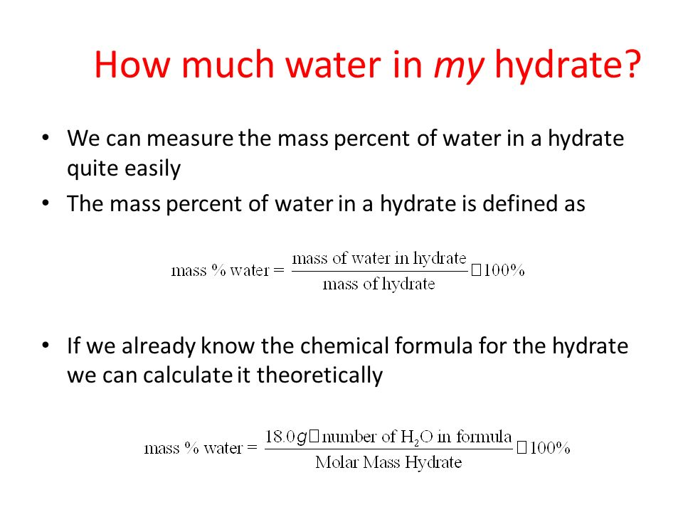 Determining percent of water crystallization and