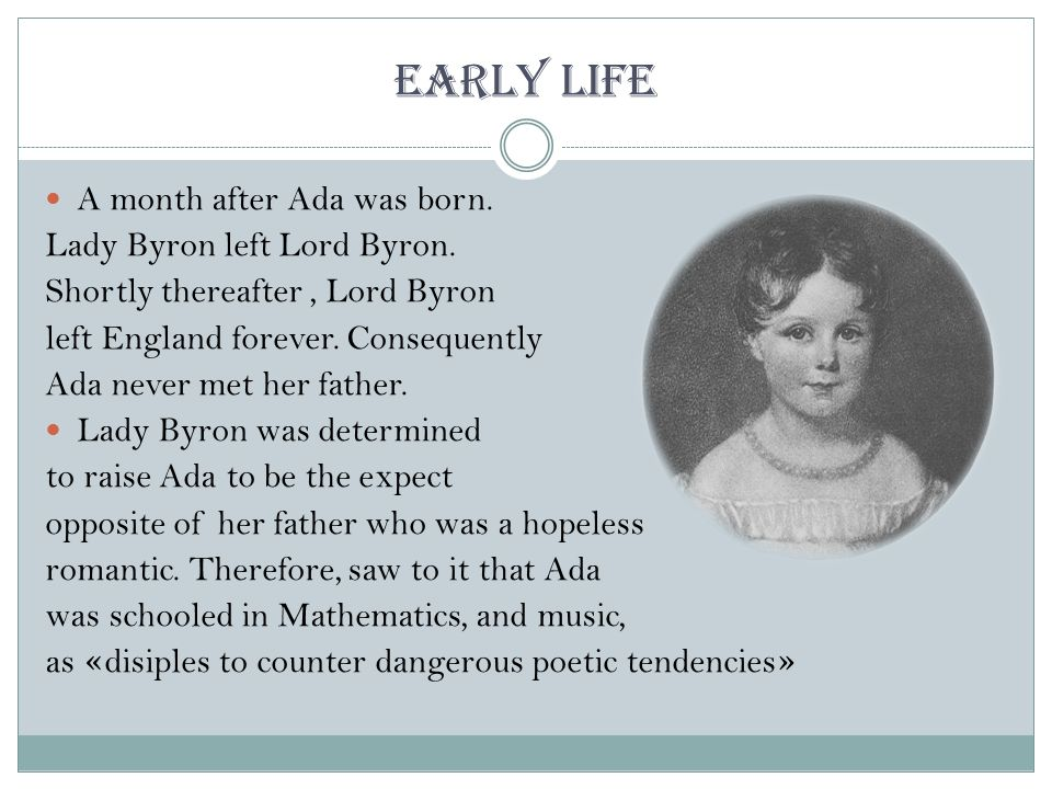 the life and times of influential mathematician ada byron