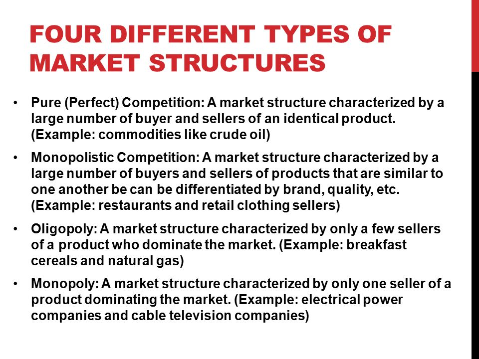 four different market structures Section 01: market structures market structure characteristics think of the different products or services that are purchased if you asked someone what brand of cars or shoes they purchase, it is likely that they could tell you the brand name.