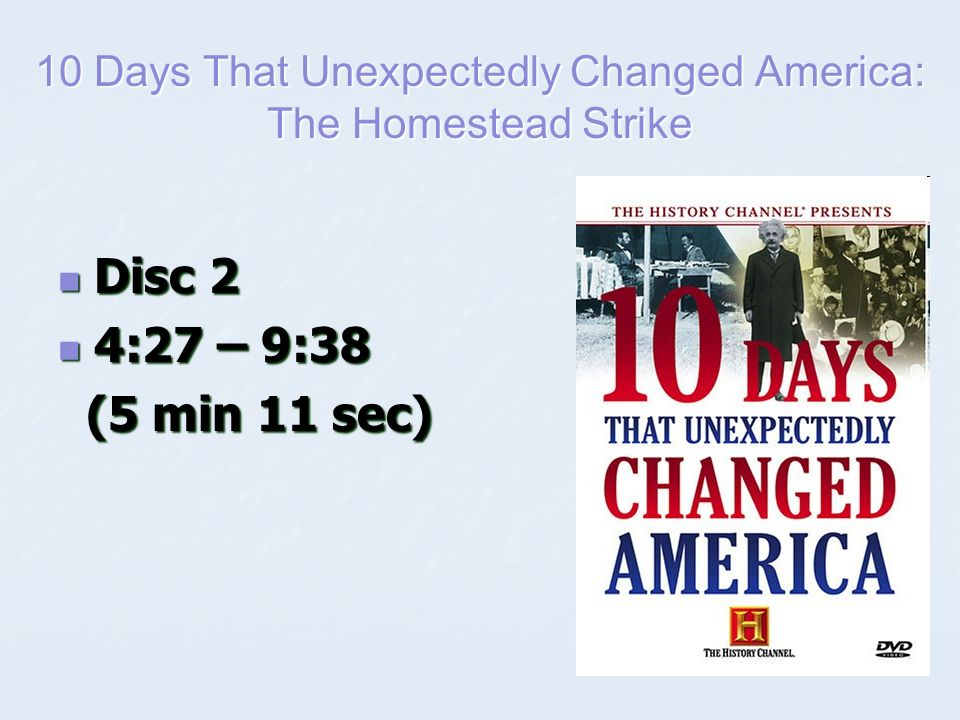 10 days that unexpectedly changed america Data for 10 days that unexpectedly changed america.