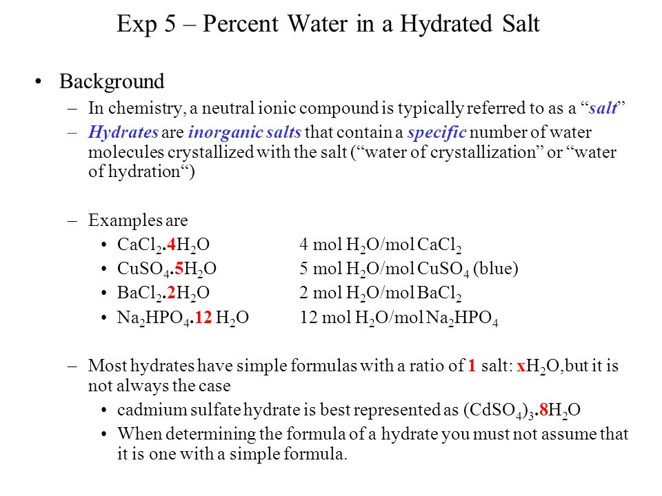 Determining the Formula of an Ionic Hydrate Gravimetrically